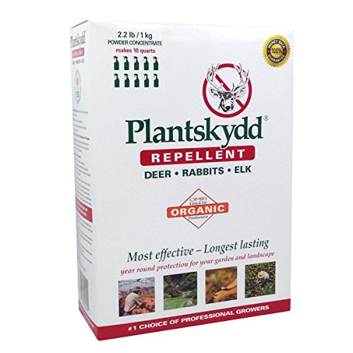- Plantskydd Deer Repellent 2.2 lb Soluble Powder, Makes 2.5 Gallon of Product for Year Round Control of Deer, Elk, Moose, Rabbits and Voles
