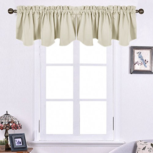Cheap Childrens Dressing Up Clothes (NICETOWN Room Darkening Window Tiers - 52-inch by 18-inch Scalloped Rod Pocket Valances Small Window Curtains, Set of Two, Beige)
