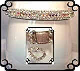 ~Silver Velvet Aurora Sparkle~Rhinestone Dog Cat Pet Collar MEDIUM #293