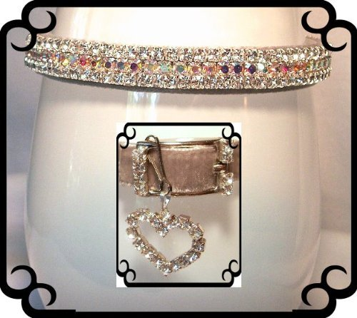 Silver Velvet Aurora Sparkle Crystal Rhinestone Dog Cat Pet Collar MEDIUM #293