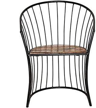 Aafiya Handicrafts Premium Quality Solid Beautiful Wooden & Wrought Iron Living Room Chair