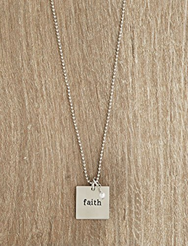 AT001 Set of 4 Urban Hope -Silver Faith Square Disc on Silver Ball Chain Necklace with Pearl Dangle by AT001