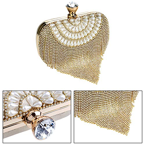 Wedding Ladies Dress Bags Clutch Bags Purse Pearls Bead Outfit Wallet Red Womens Evening Chain qZZxStP