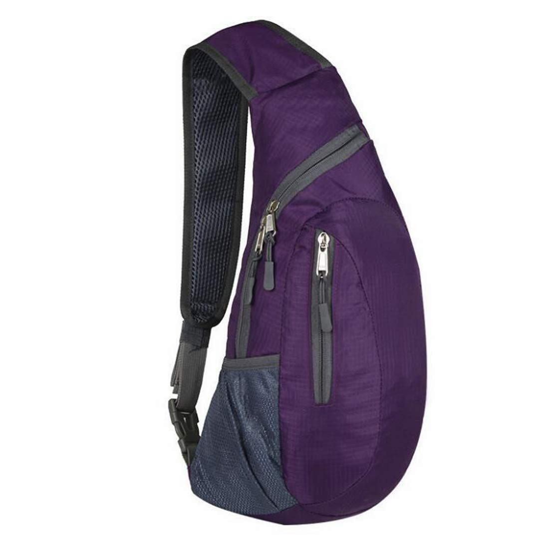 Color : Purple KRPENRIO Mens Sports Bag Outdoor Shoulder Bag Foldable Chest Bag Sling Backpack for Women