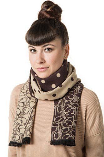 - Mio Marino Winter Cashmere Feel Women Scarf, 100% Cotton Fashion Scarves, In Elegant Gift Box - Brown and Camel Polka Dot