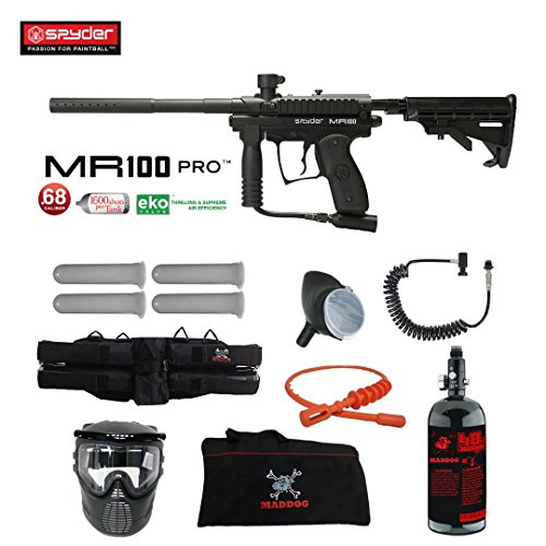 (MAddog Spyder MR100 Pro Specialist HPA Paintball Gun Package - Black)