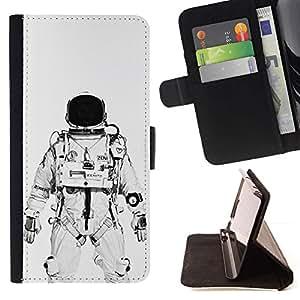 Momo Phone Case / Flip Funda de Cuero Case Cover - Astronauta Cosmonauta Blanco Negro - Samsung Galaxy S6 EDGE