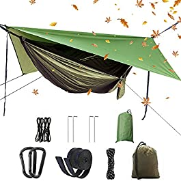 Camping Hammock Set,Single Double Hammock,Mosquito net,Rainfly,high Strength Parachute Fabric Hanging Bed. Suitable for…