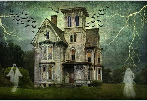 Halloween Backdrop 7x5ft Haunted Castle Photography Background Gloomy Day White Ghost Bat Scary Lightning Meadow Tree Spider Wed Old Shabby Haunted House Holiday Decor Photo Prop Poster