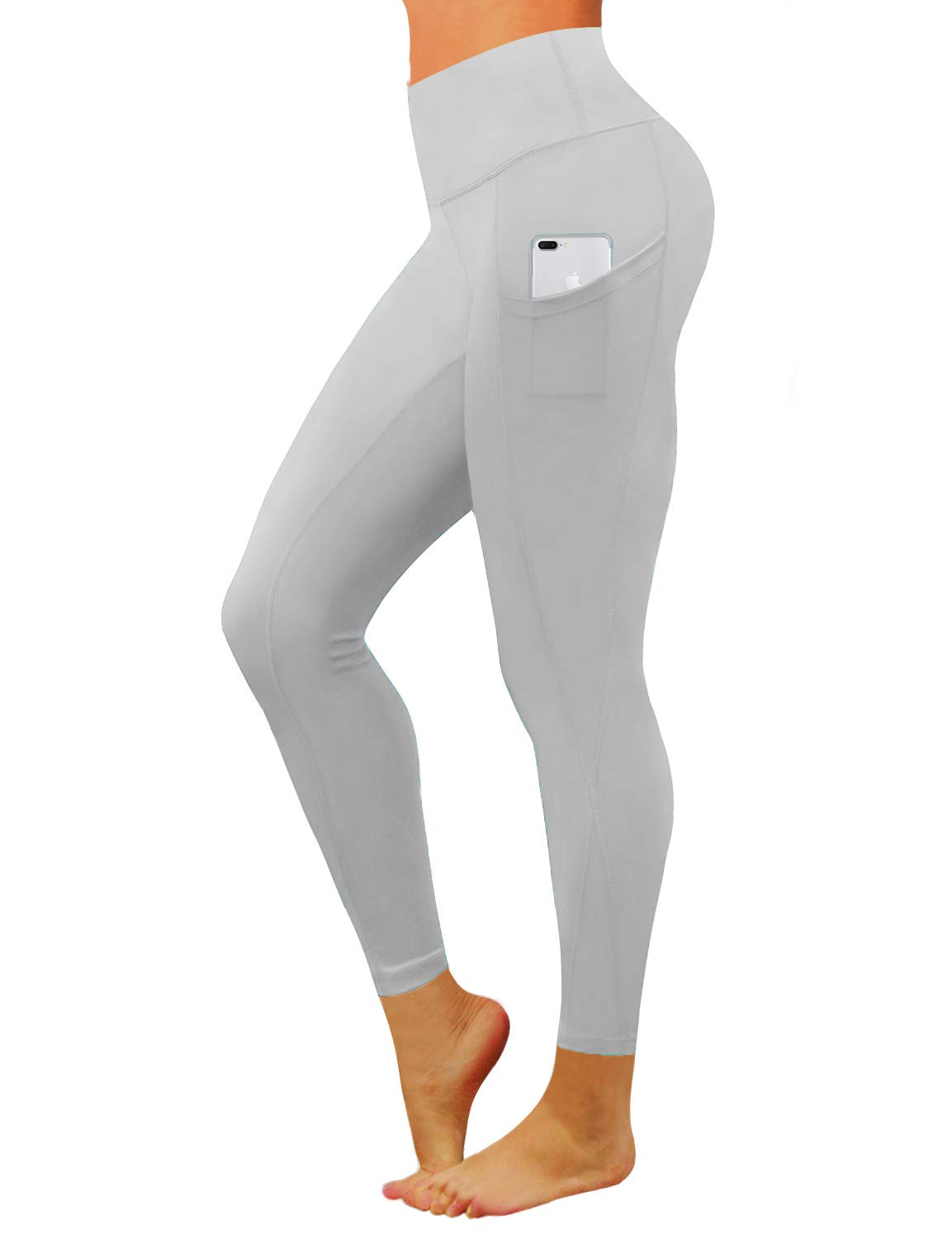 BUBBLELIME High Compression Yoga Pants Out Pocket Running Pants High Waist Moisture Wicking Workout Leggings, Bwwb010 Lightgray, X-Small
