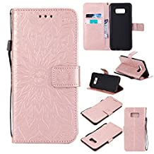 Galaxy S6 Edge Phone Case,Samsung Galaxy S6 Edge Case Leather Wallet,Gostyle Sun Flower Pattern Embossed Stand Feature PU Flip Cover Magnetic Closure with Card Slots Holder and Wrist Strap(Rose Gold)