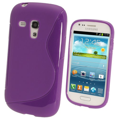 iGadgitz Dual Tone Purple Durable Crystal Gel Skin (TPU) Case Cover for Samsung Galaxy S3 III Mini I8190 Android Smartphone Cell Phone + Screen Protector