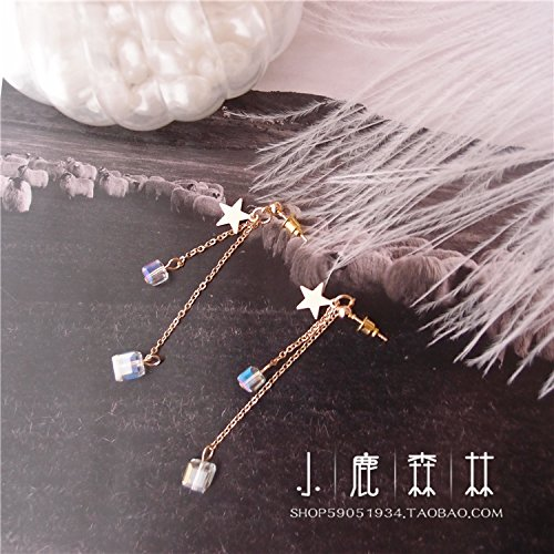 Ja and South Korea sweet girl heart series long section Crystal Star Earring box pierced earrings without ear clip earrings female