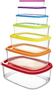 Rectangle Food Storage Containers, Set of 7 - Southern Homewares - Colorful Rectangle Holders w/Snap-On Lids