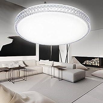 HG® 60W LED Deckenleuchte Wandlampe Weiß Deckenlampe Kristall  Deckenbeleuchtung rund Lampe Wohnzimmer Flurleuchte Schlafzimmer Badlampe  ...