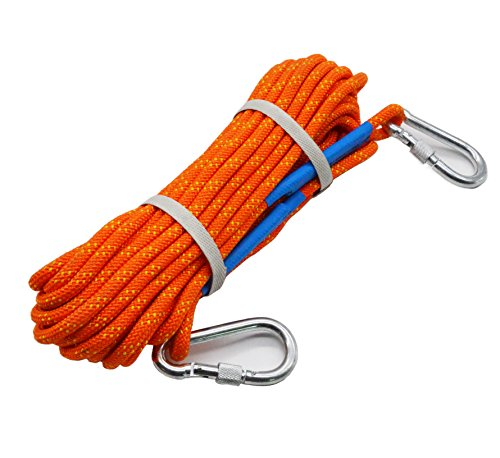 Climbing Rope ,Shenglong 15M(50ft) 8mm Diameter 2000N Outdoor Professional High Strength Cord Safety Rope with 2 Pieces Carabiners (Orange) by Shenglong