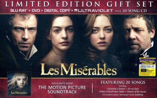 Les Miserables Limited Edition Gift Set with Blu-Ray+DVD+Digital Copy+Ultraviolet Plus 20-Song CD Soundtrack by