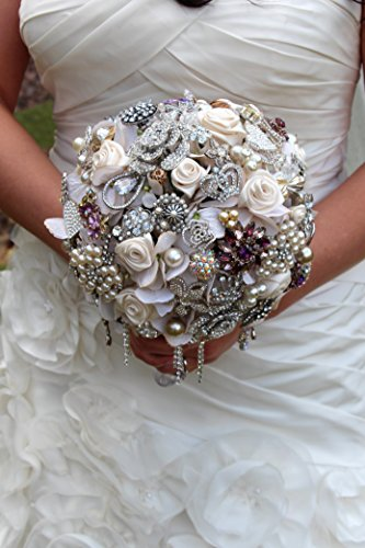 Heirloom Diamond Broach Bouquet Made to order Crystal Bling Jeweled Brooch Wedding Bridal Bouquet Wedding Brooch Bouquet