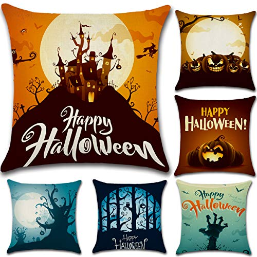 Dreampark Halloween Throw Pillow Cover 18x18, 6 Pack Halloween Decoration Square Burlap Decorative Throw Pillowslip Cushion Covers Decor (Halloween Couch Cover)