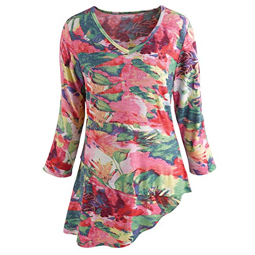 Women's Tunic Top - Pink Floral Diagonal Cut Hem 3/4 Sleeves - 2X