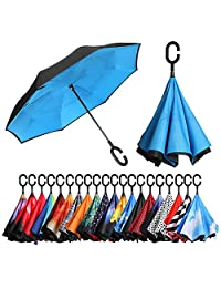 BAGAIL Double Layer Inverted Umbrellas Reverse Folding Umbrella Windproof UV Protection Big Straight Umbrella for Car Rain Outdoor with C-Shaped Handle(Blue)