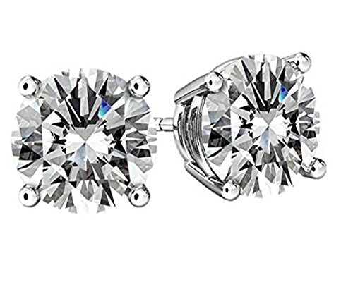 NANA Silver & Surgical Stainless Steel CZ Stud Earrings 9.5mm (6.25cttw) White Gold - Best 10036 Buy