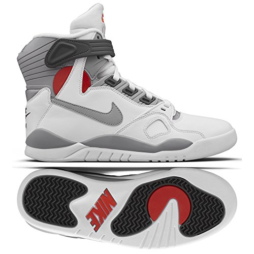 84268e8f8e30 Nike Air Pressure Basketball Retro Shoes White Grey Red
