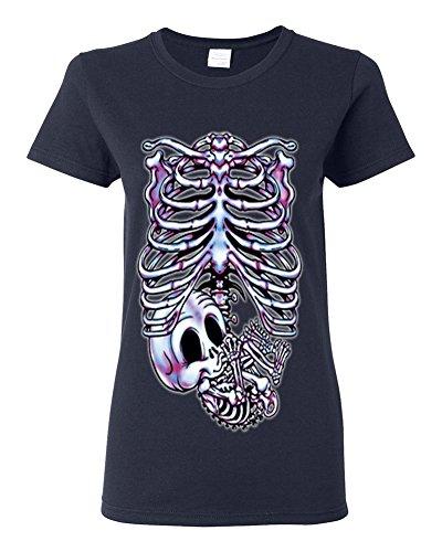 Lifestyle39 Skeleton Maternity Halloween Pregnancy Women's Shirt, Pregnant Skeleton Shirt, Skull Halloween Costume Navy Blue (Maternity Halloween Shirts Skeleton)
