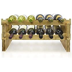 Sorbus 2-Tier Stackable Bamboo Wine Rack— Classic Style Wine Racks for Bottles— Perfect for Bar, Wine Cellar, Basement, Cabinet, Pantry, etc.—Holds 12 Bottles (2-Tier, Natural)