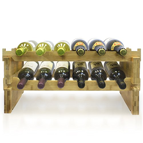 - Sorbus 2-Tier Stackable Bamboo Wine Rack- Classic Style Wine Racks for Bottles- Perfect for Bar, Wine Cellar, Basement, Cabinet, Pantry, etc.-Holds 12 Bottles (2-Tier, Natural)