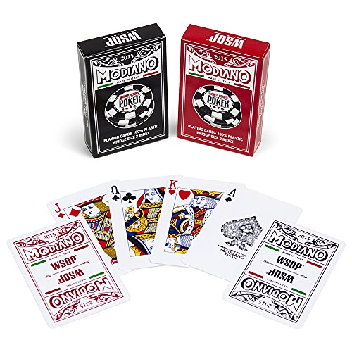 Modiano 2015 World Series of Poker Plastic Playing Cards, Red/Black, Bridge Size, Regular Index by Modiano