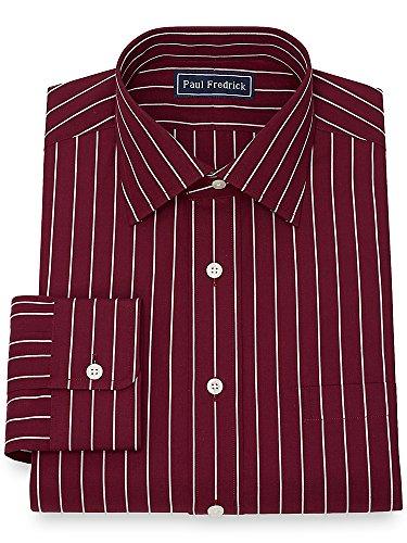 Paul Fredrick Men's Cotton Fine Line Stripe Dress Shirt Burgundy 18.5/37 (Red Fine Stripe)