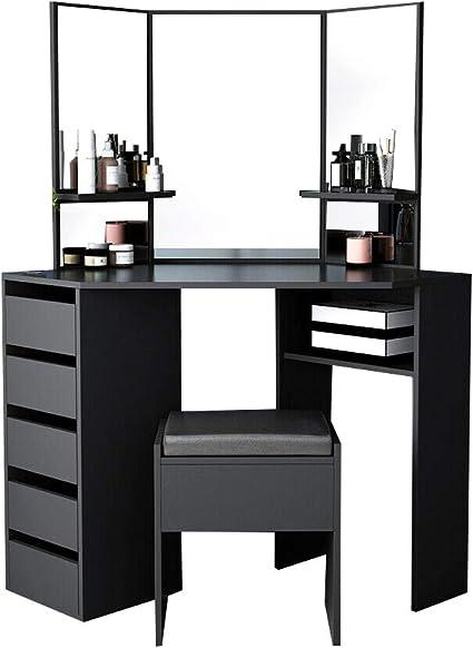 Dressing Table With Mirror Makeup Vanity Desk Stool Set Bedroom W//5 Drawer UK