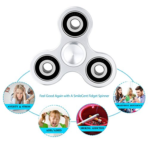 SmileCent Fidget Tri-Spinner Toy For Adults & Kids | Anti-Anxiety Hand Spinner With Smooth Surfaces & Perfectly Balanced Bearings | Eliminate Stress & ADD/ADHD Symptoms, Relax & Improve Focus (Silver)