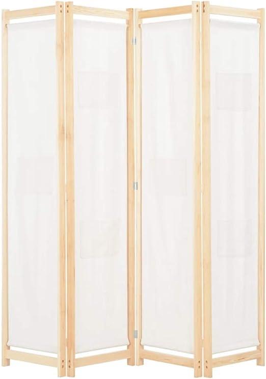 Biombo separador biombo 4 paneles, divisor plegable de madera y ...