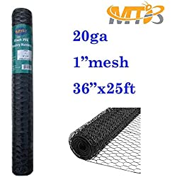 "MTB Black PVC Hexagonal Poultry Netting, Chicken Wire 36""x25'-1"" 20GA (Also Sold in 50'/150'Length)"