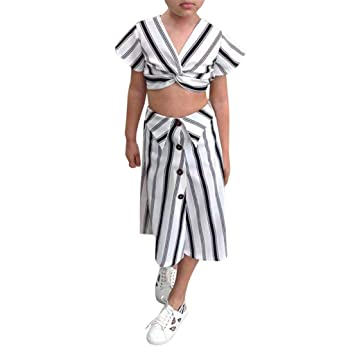 33220d4859e Amazon.com : Lanhui Toddler Kids Baby Girls Clothes Stripe T-Shirt Crop Tops +Long Outfits (5-6 Years, White) : Baby
