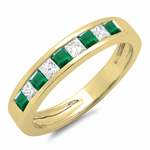 - Dazzlingrock Collection 10K Princess Emerald & White Diamond Ladies Wedding Band Stackable Ring, Yellow Gold, Size 5.5