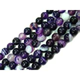 8mm Round Gemstone Banded Purple Agate Beads Strand 15 Inch Jewelry Making Beads