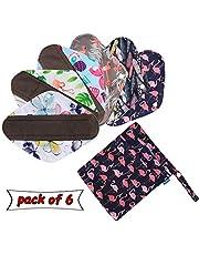 6 stks herbruikbare maandverband met extra natte zak, wasbare doek menstruele pads/inlegkruisjes van Teamoy