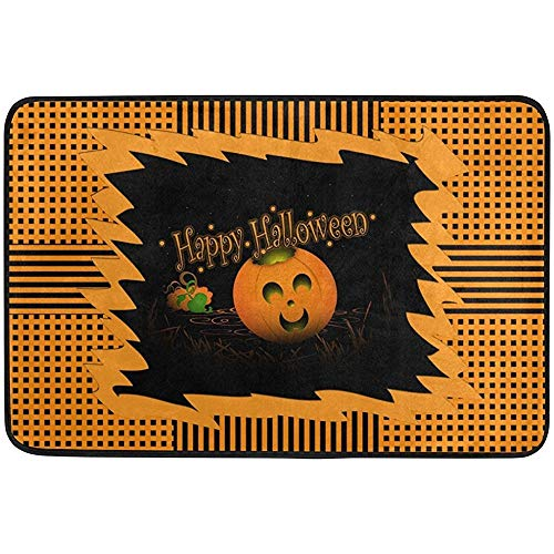 JOQSI Door Floor Mat, Doormat, Vintage Happy Halloween Geometric Striped Pumpkin Non Slip Doormat Doormats Area Rug Entrance Way Front Door Indoor Outdoor 23.6 15.7 Inches 40 x 60 cm