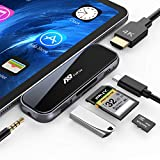 USB C Hub for iPad Pro - 7 in 1 Portable 2.5D Tempered Glass Multiport Adapter with 4K HDMI - PD Charging - SD TF Card Reader - USB 3.0 & 3.5mm AUX Dongle for iPad Pro 2018 Mac Pro Type C Devices