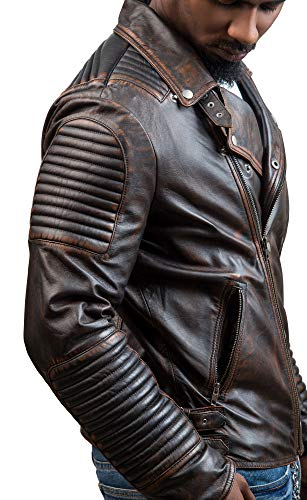 INVACHI Mens Winter Faux PU Leather Jacket with Removable Hood Vintage Motorcycle Outwear Coat