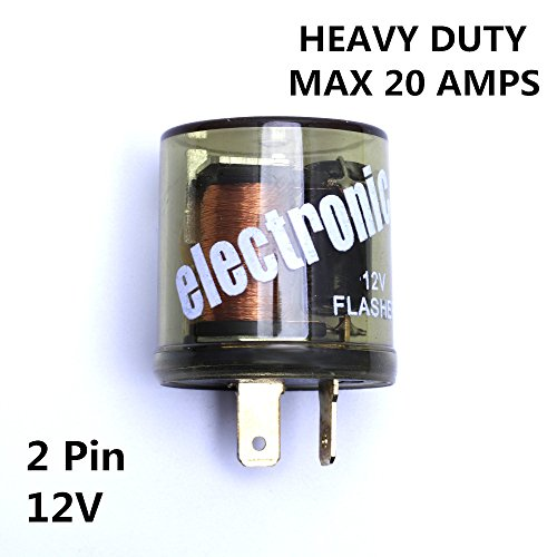 12V Heavy Duty 2 Pin LED Compatible Electronic Fixed Flasher Turn Signal Flasher Relay (Flashers 12 Volt)