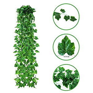 12 Pack 90.5Ft Artificial Ivy Leaf Garland Plants Vine Hanging Greenery Wedding Garland Fake Foliage Flowers Home Kitchen Garden Office Wedding Wall Décor 18