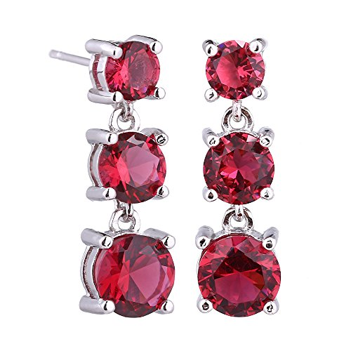 Ruby Dangle Earrings for women - Sterling Silver Red Crystal Cubic Zirconia Round July Birthstone Rhinestone CZ Drop Earrings for Wedding Party Prom Many Colors -