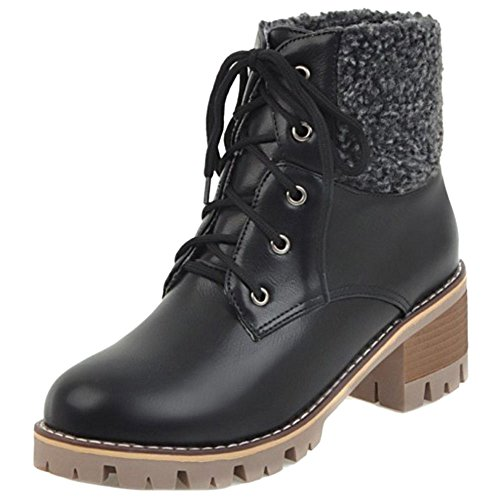 Boots Up Lace Black COOLCEPT Women xwgXqYvgO