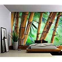 Picture Sensations Canvas Texture Wall Mural, Bamboo Tree Nature Green, Self-adhesive Vinyl Wallpaper, Peel & Stick Fabric Wall Decal - 48x36