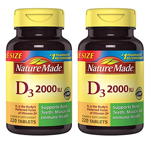 Nature Made Vitamin D3 2000 IU Tablets 220 Ct Value Size (Packaging may vary), 2 Pack (Natures Made Vitamin D)