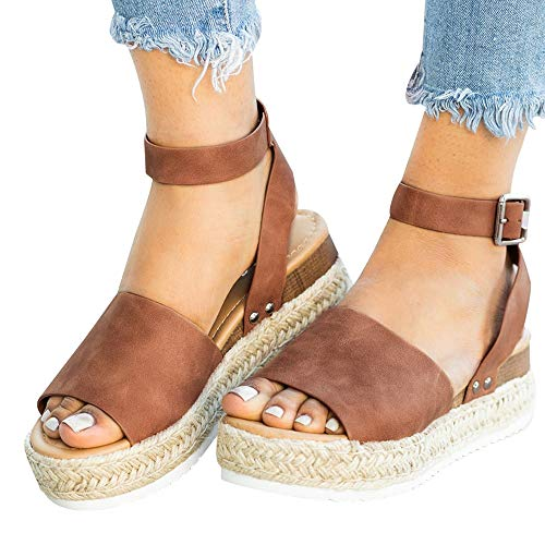 Athlefit Women's Platform Sandals Espadrille Wedge Ankle Strap Studded Open Toe Sandals Size 8 Brown